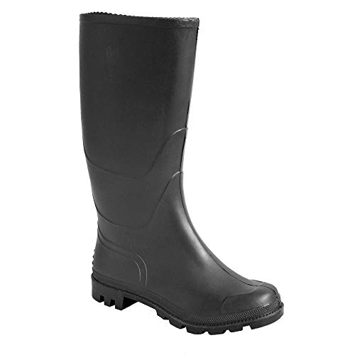 Portwest FW90 Stivale PVC Wellington O4 Stivali di gomma da lavoro, Unisex - Adulto, SRC, Nero (Nero Bkgr), 38 EU (5 UK)