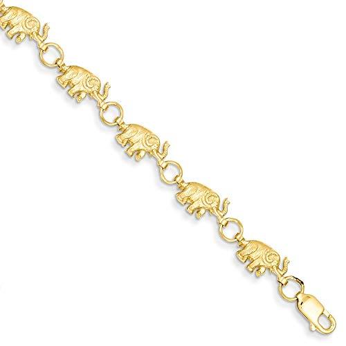 , 14 Karat, 8 kleine Elefanten D-Cut Badehose erhöhte Armband Karabiner-JewelryWeb