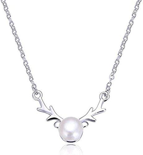 Yiffshunl Collar de Cadena de clavícula de Plata de Ley 925 con Colgante de Cabeza de Ciervo y Colgante de Perlas de Agua Dulce, Regalo para niñas y niños