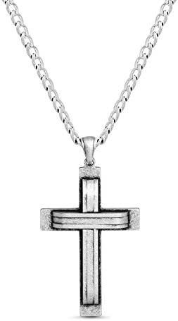 Steve Madden Oxidized Stainless Steel Cross Necklace for Men 24 Inch Curb Chain product image