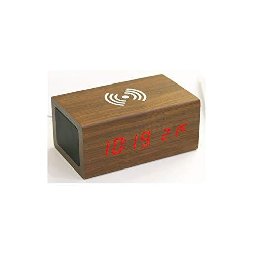 KJCHEN. Altavoz Creativo Bluetooth de Madera Control de Sonido Alarma Teléfono móvil LED LED Luminoso Mute MULTIFUNCION Wireless Calidad DE Sonido (Color : Brown)