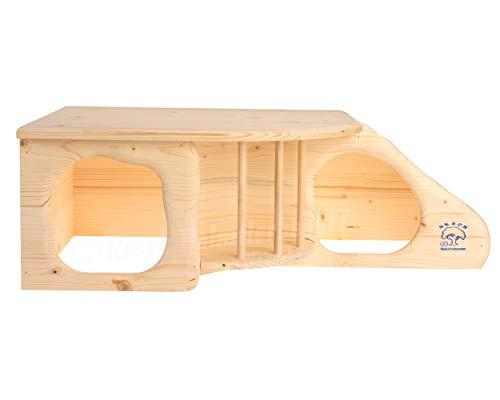 """Resch Nr11 """"Nagerhöhle XL"""" naturbelassenes Massivholz aus Fichte / mit Treppe zur Liegeterasse, integrierter Heuraufe, großen Eingängen und gerundeten Ecken - 3"""