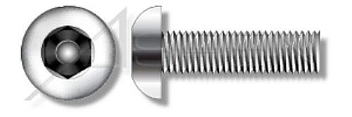 """(2500 pcs) 3/8""""-16 X 2-1/2"""", Security Machine Screws, Button Head Tamper Resistant Hex Socket Pin Drive, AISI 304 Stainless Steel (18-8), Includes Driver Bit"""