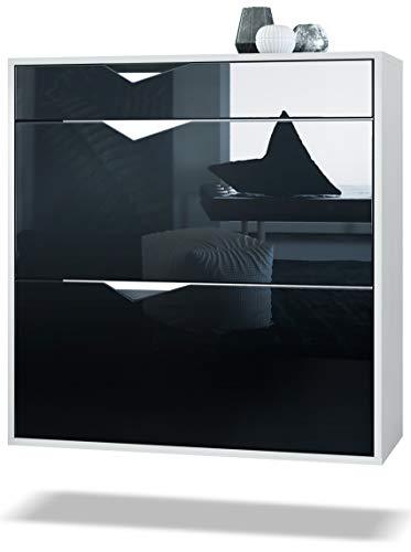 Zapatero Kolmio 85 x 87 x 33 cm, Cuerpo en Blanco Mate, frentes en Negro de Alto Brillo | Amplia selección de Colores