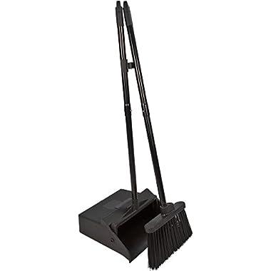 Carlisle 36141503 Duo-Pan Dustpan & Lobby Broom Combo, 3 Foot Overall Height, Black
