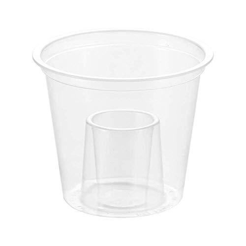 Vasos transparentes desechables 85 ml - Paquete de 50 - Con copa para shot de poliestireno - Vasos de plástico con dispensador para shot. Ideal para Red Bull y Jagermeister