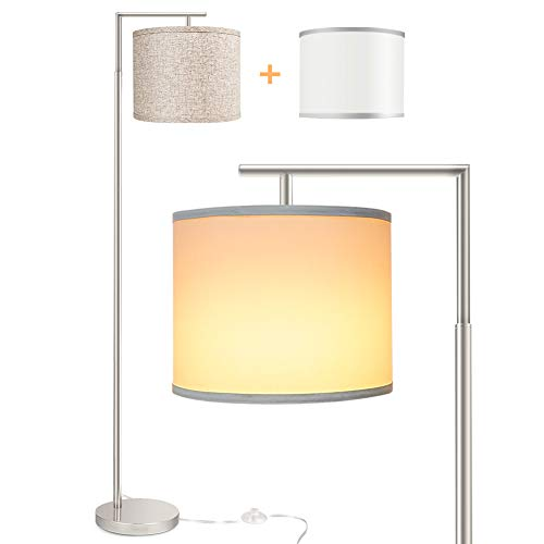 Floor Lamp for Living Room, LED Modern Montage Floor Light, Standing Tall Pole Lamp with 2 Hanging Lamp Shades (White/Flaxen), Mid Century Floor Reading Lamp with 9W 3000K LED Bulb for Bedroom Study