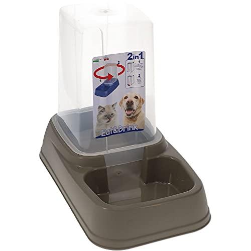 Futterspender Wasserspender Hunde Katzen Futter Wasser Napf Automat 2in1 3,7 L