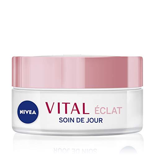 NIVEA Vital Éclat Soin De Jour Peaux Matures (1 x 50 ml), crème hydratante visage à l'huile de pétales de Rose & Calcium, soin visage femme anti-âge et anti-rides