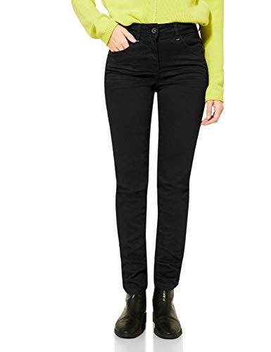 Cecil Damen 373629 Style Toronto Slim Fit High Waist Jeans, Black Denim, W30/L30