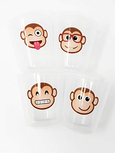 Cups for Kids Toddlers Premium BPA Free Unbreakable Drinking Cups 8 oz Emoji Design (monkey 4 pack)
