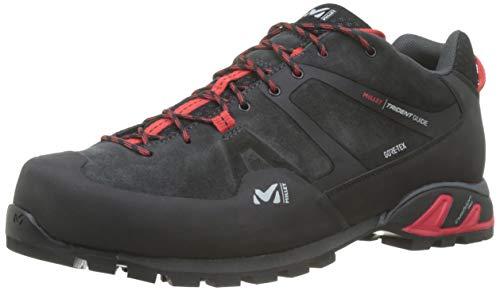 Millet - Trident Guide GTX - Chaussures Basses pour Randonnée, Alpinisme et Approche - Homme - Membrane Gore-Tex Imperméable - Semelle Vibram - Noir et rouge- 44 EU