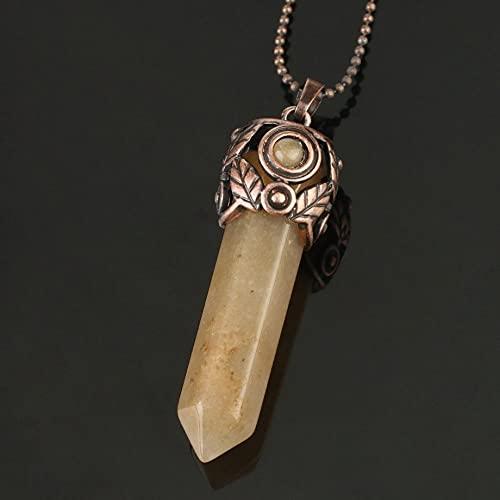 YQMR Collares con Colgantes De Piedra para Mujer,7 Chakra Señoras Columna Hexagonal De Cristal Semiprecioso Natural Cadena De Clavícula De Jade Naranja Plateado Día De Cumpl