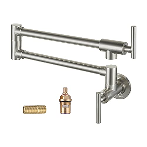 WOWOW Pot Filler Kitchen Faucet Solid Brass Folding Wall Mount Faucets Stretchable Double Joint Swing Arm Faucet Single Hole 2 Handles Brushed Nickel Commercial Faucet