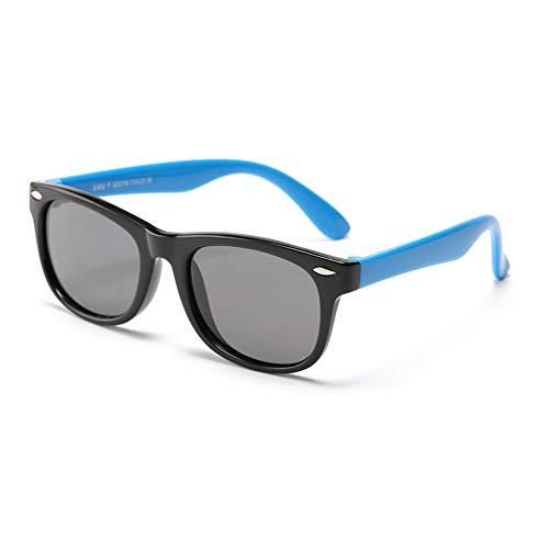 FOURCHEN Gafas de sol flexibles de goma polarizadas para niños para niñas de 3 a 10 años de edad (black blue)