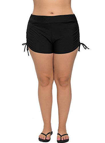 ATTRACO Womens Plus Size Swimsuit Bottom Tankini Bottom Beach Shorts Black 1x
