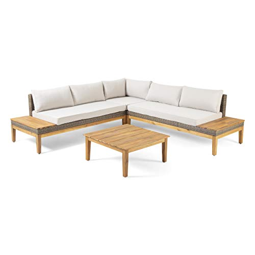 Nina S'More Outdoor Acacia Wood and Wicker 5 Seater Sectional Sofa Set with Water-Resistant Cushions, Teak and Light Khaki