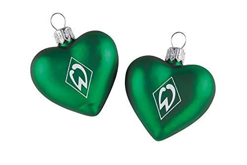 Werder Bremen glazen hart kerstballen kerstboomversiering set van 2
