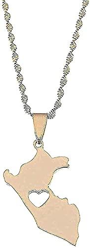 WYDSFWL Collar Collar de Acero Inoxidable Tarjeta de Color Dorado Collares de Perú Pendientes Mapa de Joyas Regalos de corazón Peruano