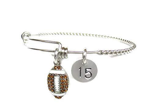 Football Charm Bracelet Personalized Expandable Stainless Steel Bangle