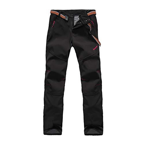 Tofern Pantalones de invierno para mujer [Cálidos + Transpirables + Impermeables + Resistentes al viento + Softshell] para senderismo, escalada, camping, ciclismo