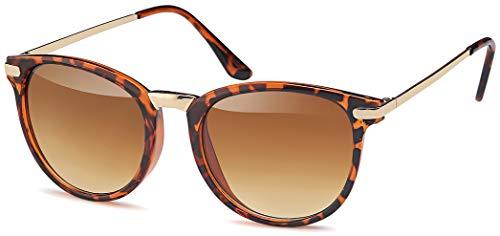 Vintage Sonnenbrille im angesagten 60er Style mit trendigen bronzefarbenden Metallbügeln Panto - Retro Brille (leo-gold-Verlauf)