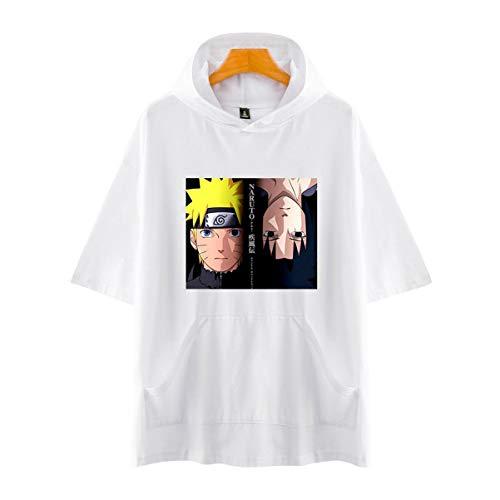Unisex Sommer Kurzarm Baumwolle Hoodie T-Shirts Hokage Uzumaki Naruto Uchiha Sasuke Kakashi Hatake Maru Udon (5,XS)