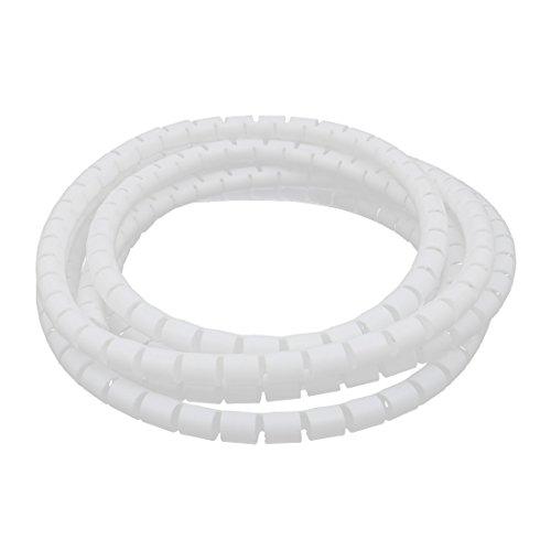 sourcing map Câble flex tube spirale fil blanc 10mm Dia x2,5M long avec clip