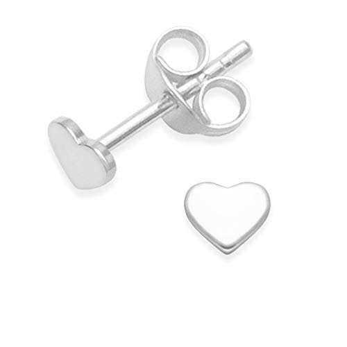 Heather Needham Sterling Silver Heart Earrings - small flat Heart Stud Earrings - SIZE: small 4mm. Much smaller than shown - Gift Boxed 5010