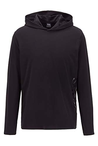 BOSS Herren Identity LS-Shirt H. Pyjama-Shirt aus Stretch-Baumwolle mit Kapuze
