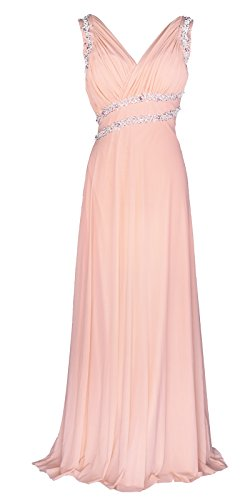 Licoco Women Beading Straps Ruched Long Formal Prom Gowns Bridesmaid Dress (71pink,Large)
