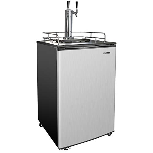 KUPPET Beer Kegerator - Full Size Stainless Steel Kegerator, Draft Beer Dispenser - Keg Beer Cooler, Compressor Cooling CO2 Regulator Casters, Dual Tap, 6.0 Cu.ft. (Stainless Steel)