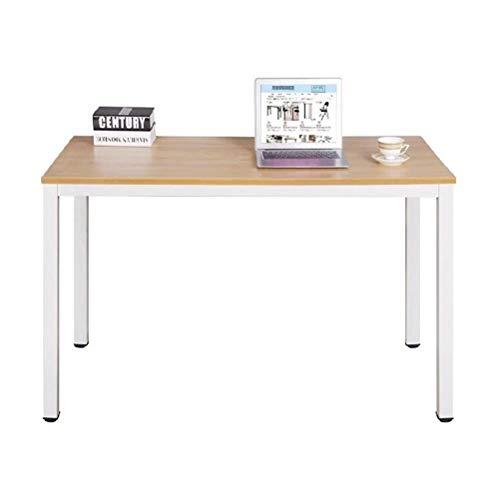 sogesfurniture Scrivanie 100x60cm Tavolo per Computer Ufficio Postazioni di Lavoro Scrivania PC Tavolo da Pranzo Moderno in Acciaio Legno, Teak & Bianco AC3TW-100-SF