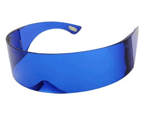 AStyles Futuristische Robo Shield Sonnenbrille, Monoblock, Zyklops, 100{638c6fb358f0afac67e985f6791b5f7255b1088eaadf3f99916d34ddffbc7651} UV400, Blau (blau), Large