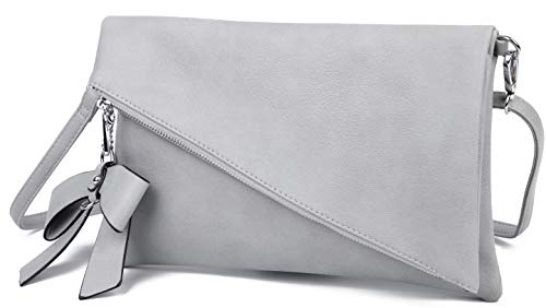 Clutch 2-in-1 - Kleine Handtasche Elegante Abendtasche - Damen Umhängetasche - Schultertasche Abnehmbarer Gurt - inkl. Schleife (Grau)