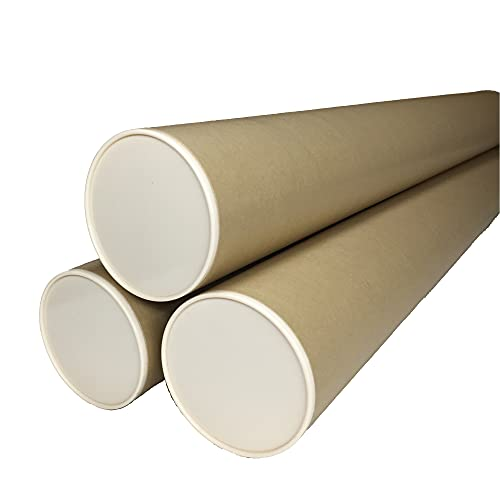 紙筒 丸筒 紙管 ポスター筒 両端キャップ付き 内径100mm 肉厚1,5mm ケース 絵画 図面 式次第 会次第 (B1用 φ100mm x 745mm x 3本セット)
