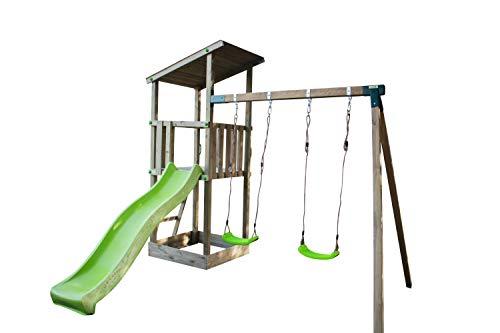 MASGAMES | Parque Infantil Talaia L con Columpio | Tobogán | Anclajes incluidos | Madera tratada | Uso doméstico |