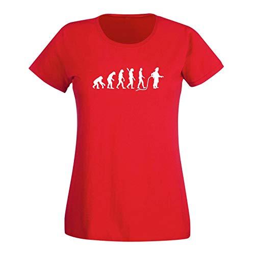 T-Shirt Evolution Feuerwehr 112 Firefighter löschen THW 15 Farben Damen XS - 3XL Rettungsdienst Brandbekämpfung Löschzug Schlauchwagen, Größe: M, Farbe: rot - Logo Weiss