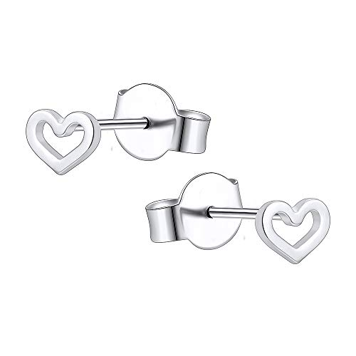 AoedeJ Pendientes de botón de corazón Pendientes de corazón pequeños de plata de ley 925 para mujer Pendientes hipoalergénicos para niñas (Style 2)