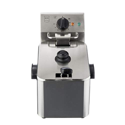 Metro Professional Elektrische Friteuse GDF3004 | Single | 4 Liter | 2500 W | Kaltzone | mit Deckel | Sicherheitsthermostat | Fritteuse | Edelstahl | Profi | auch für gewerblichen Einsatz geeignet