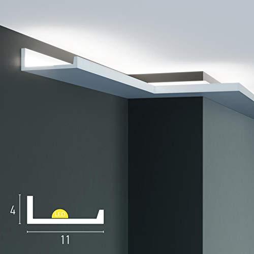 Lot de 4 corniches décoratives pour LED de plafond et de mur (4,8 mètres linéaires), moulures pour éclairage indirect avec bandes LED ou spots, en polyuréthane (lot de 4 profilés de 1,2 m)