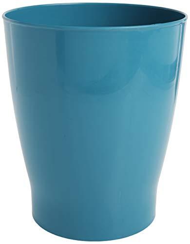 iDesign Franklin Wastebasket Trash Can, Waste Basket Garbage Can for Bathroom, Bedroom, Kitchen, Home Office, Dorm, College, Teal Blue