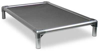 Kuranda All-Aluminum (Silver) Chewproof Dog Bed - Large (40x25) - 40 oz. Vinyl - Smoke