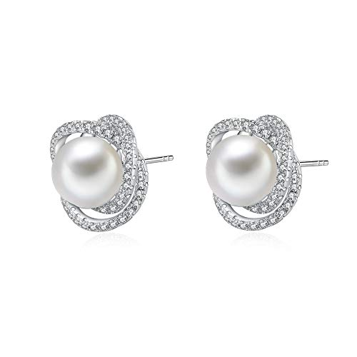Immobird Flores Perlas Pendiente Mujer Pendientes Plata de Ley 925 Circonita Aretes Para Regalos San Valentín Día De La Madre