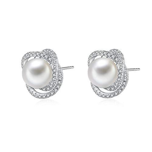 Pendientes de perlas de agua dulce de 9 mm de plata de ley para mujer con circonitas cúbicas Regalo San Valentín