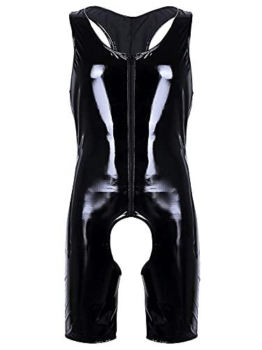 iEFiEL Herren Lackleder Overalls Wetlook Dessous Unterhemd Fitness Bodysuit Ouvert-Panties Trikot Body Ringershirt Schwarz Clubwear Schwarz Medium