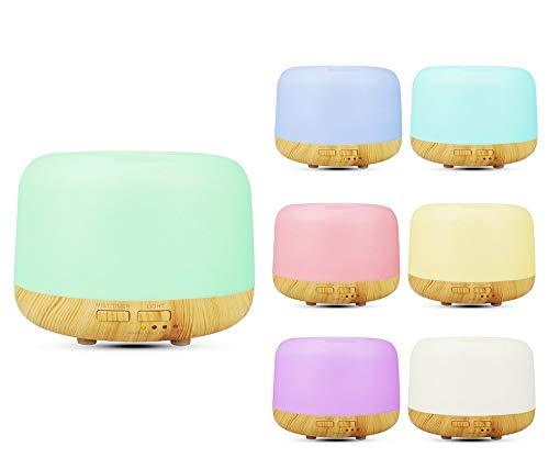 Humidificadores Aceites Esenciales 300 ml, Difusor Aceites Esenciales, Difusor de Aromaterapia Silencioso, 7 Luces LED de...
