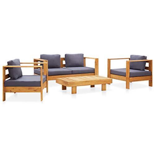 FAMIROSA Muebles de jardín 4 pzas con Cojines Madera Maciza Acacia Gris