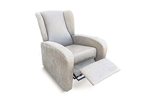 Sillón butaca reclinable tapizado Antimanchas. Sillón con Respaldo reclinable y reposa pies (Beige)