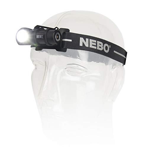 NEBO-IPROTEC RC 2-in-1 LED Stirnlampe Rebel-Linterna+ HEADLAMP 600LM Recargable, 600 lúmenes, Resistente al Agua y a los Golpes, Li-Ion Akku mit Docking-Station